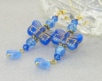 Blue butterflies with flowers glass dangle earrings, summer, garden, jewelry