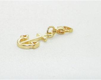 Gold plate anchor lobster claw charm, clip on charm, zipper charm