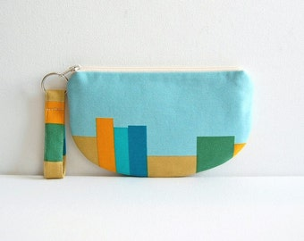 Zipper Pouch with Keyring, Coin Purse, Change Pouch, Makeup Bag, Women and Teens, Gift For Her, Drawing Room Volumes in Blue