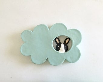 Bunny in a Cloud - Ceramic Wall Hanging