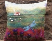 Dragonfly Cottage Cushion Decorative Throw Pillow