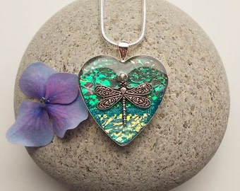 Dragonfly Heart Pendant Necklace
