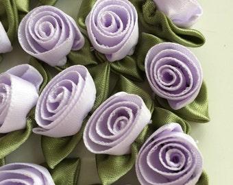 """Lavender Ribbon Roses, 2 Dozen (24) Handmade 12mm (1/2"""") Ribbon Roses in Lovely Lilac"""