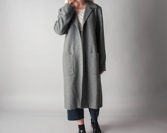 soul space heather gray minimalist coat / car coat / lightweight midi coat / m / 600o