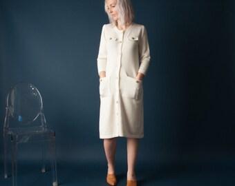 take me higher white knit dress / 70s sweater dress / midi knit dress / s / 1654d
