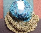 Sand & Sea Handmade Cowl Knitted with Handspun Yarn - Wool, Silk, Bamboo Sandy Tan and Blue