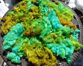 4 oz Batches of Verdigris Wensleydale Long Locks Fleece Gold Ochre and Turquoise to Spin Felt or Fiber Art