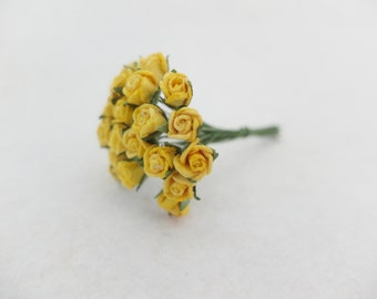 25 7mm yellow paper rose buds - yellow mulberry paper roses with wire stems