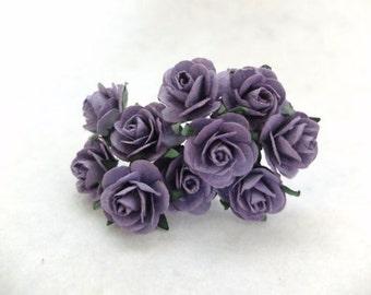 10 25mm purple paper roses - purple paper flowers - 2.5cm paper rose