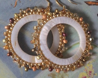 Beaded Mother of Pearl Earrings Large Seed Bead Earrings Beadwork Sea Shell Jewelry