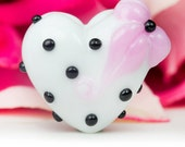 Floral Kitsch Lampwork Glass Bead Heart by Clare Scott SRA Black White Pink Retro Vintage