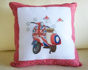 Brit Bike | Cross Stitch Pillow | Custom Cross Stitch