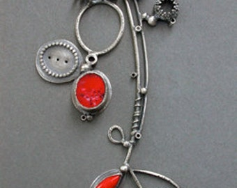 poppy red orange double pendant necklace orange large charm necklace whimsical contemporary modern necklace every day necklace vintage glass