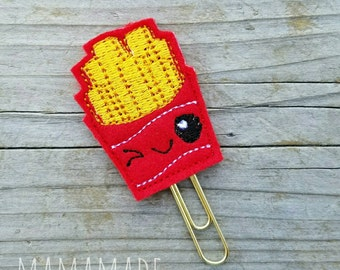 French Fries Feltie - Planner Clip, Magnet or Hairclip (bookmark, planner or journal clip)