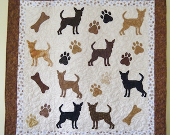 Chihuahua quilt throw size  -  53 x 53 inches