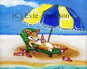 ORIGINAL CANVAS PAINTING******* Evie Anderson Pembroke Welsh Corgi Dog Art