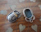 2 Egyptian Revival antique copper pendant BEETLES SCARABS Hippie Boho Vintage Style