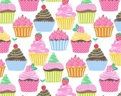 ON SALE Icing on Top White by Maude Asbury - The Lolly Collection  - Cupcakes - Blend Fabrics - One Yard Quilting Fabric