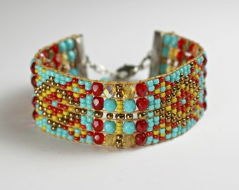 Beaded Boho Bracelet in Red, Turquoise and Amber Diamond Geometric Design - Loomed Statement Jewelry