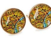 Detroit Map Cufflinks Solid Golden Bronze Heirloom Cast One Piece Antique Atlas