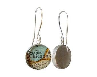Map Earrings  Sterling Silver  Hand Forged Long Earwires Made to Order You Choose the City Fiancee Mom or Bridesmaid Gift