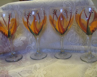 WIne Glasses goblets Large  Tear drop,Berry and Orange. Hand painted.