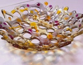 Fused Glass Watercolour dish bowl gold stars dichroic pink rose amber silver grey