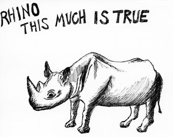 Rhino This Much greeting card