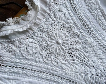 Antique Embroidered Christening Gown 3 to 6 Months