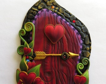 Cupid Valentine Fairy Door, Heart Pixie Portal, Holiday Decor
