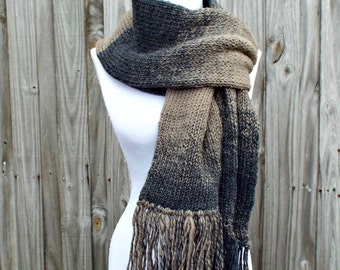 Double Knit Scarf With Fringe, Charcoal Grey and Taupe Brown Scarf, Mens Scarf, Womens Scarf, Thick Winter Scarf Grey Scarf