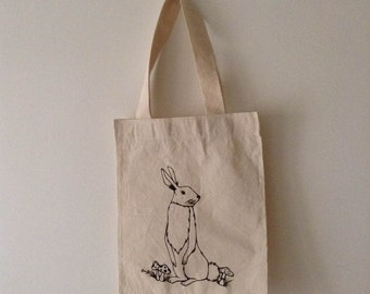 Hand painted rabbit bag