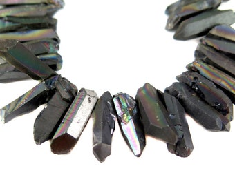 Electroplated Titatnium Coated Rough Quartz Beads - Gun Metal  (6x) (NS834)