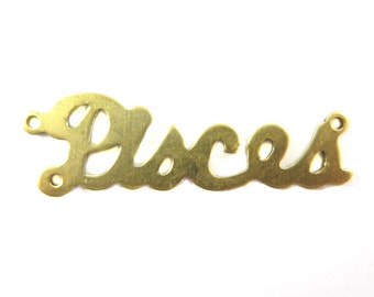 Brass Astrological Name Plate Pendants - Pisces (2X) (A611-A)