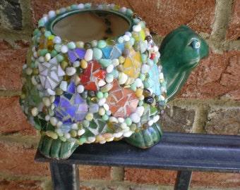 Mosaic Ceramic Turtle Flower Pot