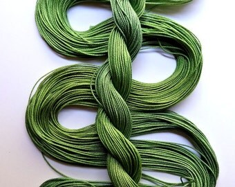 "Size 10 ""Leafy"" hand dyed thread 6 cord cordonnet tatting crochet cotton"