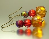 Vintage/ estate jewelry retro bronze finish earrings made from old carnival and amber glass beads - upcycled jewellery