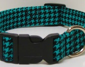 Teal and Black houndstooth  Handmade Dog Collar