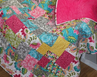 "SPLASH Sofa Throw, Bed Coverlet, drop Dead Gorgeous minky Quilt 56"" x 75"" Ready to Ship"