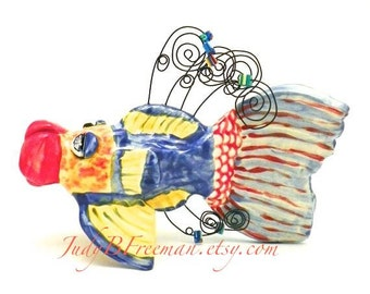 Ceramic Fish Photo Holder Note Keeper Tabletop Sculpture Parrotfish Made to Order FSS0009