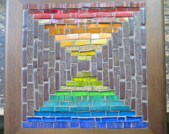 Rainbow Courthouse Steps Mosaic Trivet