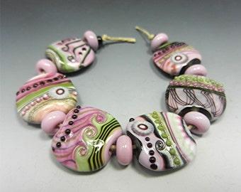 HANDMADE LAMPWORK Beads Donna Millard SRA pink rose black green boho gypsy organic
