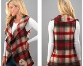 Monogrammed plaid vest - red and taupe vest - plaid vest - open front vest - vest for women - drape blanket style vest
