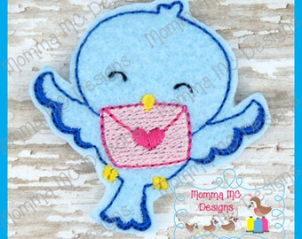 Valentine Love Bird Felt Feltie Embroidery Design