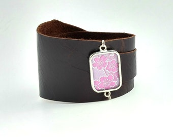 Leather Wrap Cuff with Spring Pink Blossom Silk Shi Piece