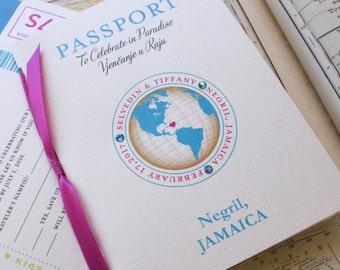 Journey of Love Passport Wedding Invitation (Negril, Jamaica) - Design Fee