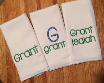 Burp Cloths Personalized Monogrammed - blue and green - boy or girl - Set of 3