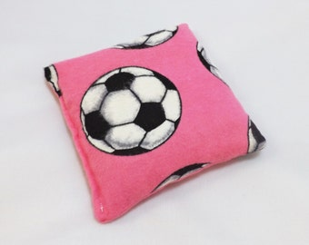 Flaxseed Owie BooBoo Bag - Hot and Cold Therapy Pack (Use in Freezer or Microwave) - Soccer on Pink - (Ready to Ship)
