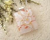 Iris Necklace, Fused Glass Jewelry, White Iris Pendant, Fused GlassJewelry, Dichroic Jewerly, Silver Necklace, Glass Jewelry, 010916p115