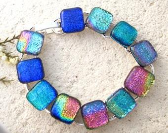 Link Dichroic Bracelet, Dichroic Bracelet, Dichroic Jewelry, Fused Glass Jewelry, Rainbow Bracelet,Silver Bracelet, Multi Color, 022516br103
